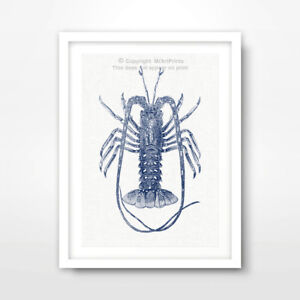 LOBSTER ILLUSTRATION SEASIDE NAUTICAL ART PRINT Blue Decor Seafood Restaurant