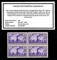 1944 - TRANSCONTINENTAL RAILROAD - Mint, NH Block of Vintage U.S. Postage Stamps
