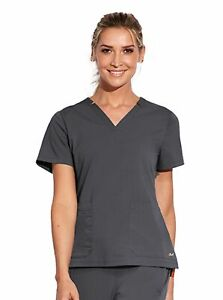 """Barco Motion Style MT001 V-Neck Detailed Scrub Top in """"Pewter"""" Size L"""
