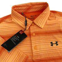 NWT Mens Small Under Armour Playoff 2.0 Orange Striped Polo Golf Shirt 1327037 S