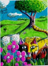 Jacob Landis Limited edition ACEO print /250 Kitty tabby cat honey bee flowers