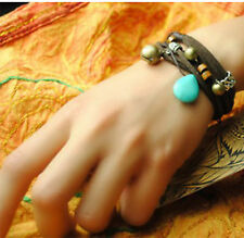 Tibetan Silver Multi Layer Turquoise Leather Bracelet 18cm UK