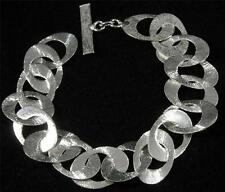 "Brushed Textured Silver Plated Copper Oval Round Hole Chain Bracelet 6 3/4"" - 8"""