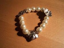 Mock pearl and silver flower bracelet