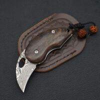 Damascus Steel Blade Mini Pocket Folding Knife Wood Handle EDC Tools Survival