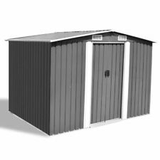 Metal Storage Shed Outdoor Tools Shelter Steel Gray Garden Equipment Sheds