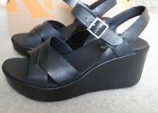 Korks DENICA Platform Wedge Black Strap Sandals Shoes Size 8 New In Box