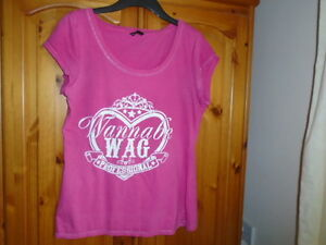 1 Pink scoop neck Wannabe WAG design cap sleeve top, GEORGE, size 14
