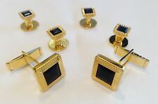 NEW Mens Gold/Black Square Cuff Links & Shirt Studs Tuxedo Tux Formal Set