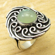 925 Silver Plated Aqua Chalcedony STUNNING Ring Size Q ½ ! Online Jewelry Store