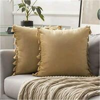 MIULEE Pack of 2 Velvet Soft Solid Decorative Throw Pillow Cover, Khaki, Size  a