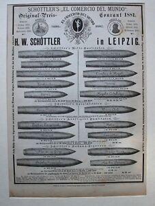 Tabakwaren, Zigarren - Ganzseitige Anzeige - Schöttler Leipzig - Holzstich 1882