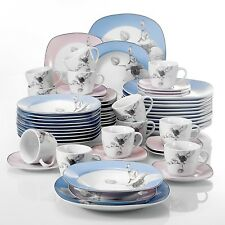 60pcs Porcelain Dinner Set Tableware Plate Coffee Cup Saucer for Home Hotel Cafe