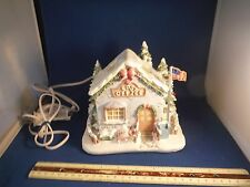 Hawthorne Village Precious Moments Holly Day Greetings Post Office Lighted House