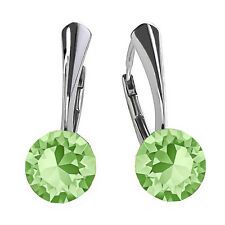 925 Sterling Silver Leverback Earrings *PERIDOT* Crystals from Swarovski®