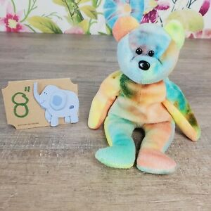 "Ty Beanie Babies Garcia The Bear Plush 8"" 1993 PVC Tie Dye Retired"