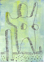 20121315 e9Art ACEO Abstract Figurative Outsider Art Painting Expressionism Brut