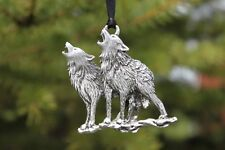 Hastings Pewter Company Lead Free Pewter Wolves Ornament Wolf Pair gift USA  New