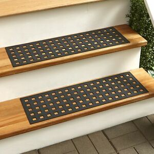 Rubber Stair Grip Mat Treads with Decorative Pattern - Set of 2