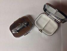 Saab 9.3 Convertible ref228 pewter effect car emblem on silver metal pill box