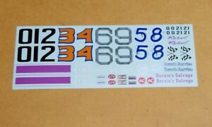 AMT 1/25 1965 FORD FAIRLANE MODIFIED STOCKER DECAL SHEET