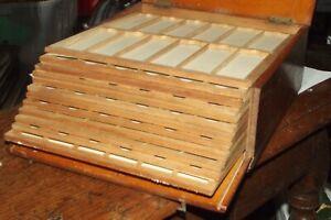 Vintage Wooden Microscope Slide Storage Keep safe Box Holds  168 Slides