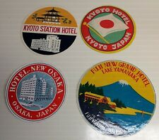 FOUR (4)~Vintage~JAPAN Hotel~LUGGAGE LABELS~Kyoto~Osaka~Fuji Lake Yamanaka~1 LOT