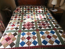 Antique 1800s Hand Sewn Quilt Patchwork Green Brown Brick Possibly Unused 78X79