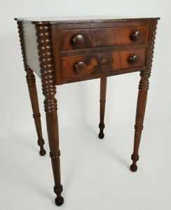 Antique Nightstand End Work Table Burled Walnut Wood Sheraton 19th Century