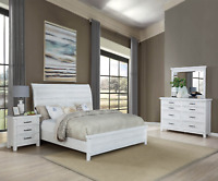 NEW Weathered White Rustic Farmhouse 4PC Queen King Modern Bedroom Set Bed/D/M/N