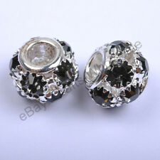 Quality Czech Crystal Rhinestone European Big Hole Charms Beads Fit Bracelets