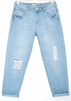 Topshop MOTO Bleach Blue Mid Rise RIPPED Tapered CROP Jeans Size 12 W30