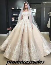 Luxury 2019 Ball Wedding Dress Champagne Lace Applique Off Shoulder Bridal Gown