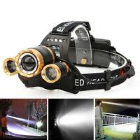 Brillante 30000Lm Zoomable XML T6 3LED Linterna de Cabeza Antorcha 18650 Batería