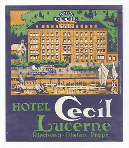 Hotel Cecil LUCERNE Switzerland - vintage luggage label