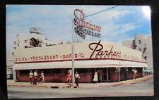 Parham's Restaurant Florida Retro Neon Sign Street Awning People VTG Postcard