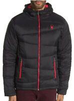 New Spyder Mens Thermaweb Ski Jacket Hooded Size Medium Black Red NWT $199 MSRP