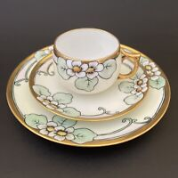 J&C Jaeger Bavaria German Hand Painted Art Nouveau Porcelain Tea Trio.