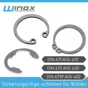 10X /Ø6 Wellensicherungen Edelstahl DIN 6799 Sicherungsscheiben Sicherungsringe 10 St/ück