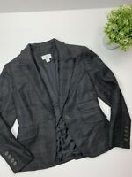 Ann Taylor LOFT Charcoal Gray blazer Jacket S 6 P Career Casual Plaid wool blend