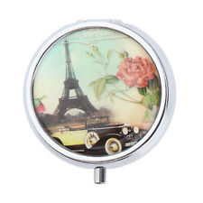 Cute Pill Box For Purse Pocket Metal Pill Case Pill Holder with Mirror Inside
