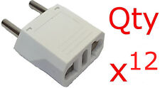 Europe Asia 4mm Round Pin Plug Adapter 12 Pk- US USA to EU Europe/Asia