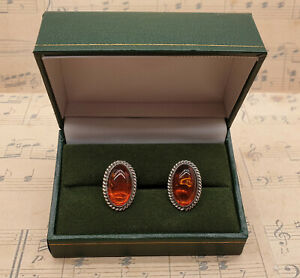 Vintage Mens 925 Sterling Silver Baltic Amber Cabochon Cufflinks with Box