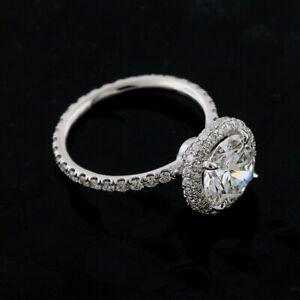 Double Halo Diamonds Engagement Ring Setting Mounting Platinum 950