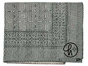 Indian Hand Block Kantha Quilt Hippie King Size Black Bedspread Home Decor Throw