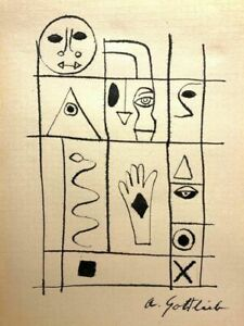ATTRIB Adolph Gottlieb (American, 1903–1974) Hieroglyph ink on paper