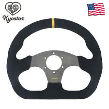 "Universal 13"" 325mm Racing Flat Drift Steering Wheel Sport Leather Stype Black"