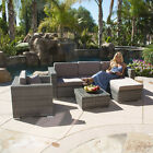 6PC Outdoor Patio Sofa Set Sectional Furniture PE Wicker Rattan Deck Couch Gray