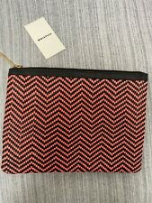Whistles Leather Woven Pink & Black Clutch Bag