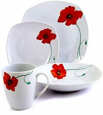 Dinnerware Set 16 Piece Dining Ceramic Plates Bowls Dishes White Red Poppies